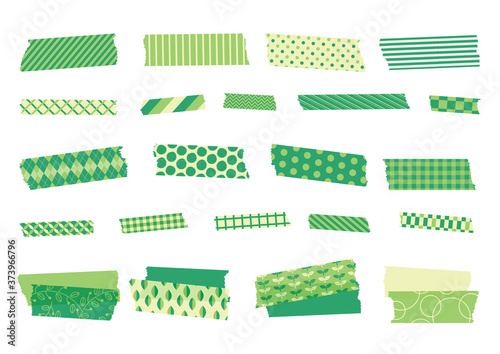 春 初夏 緑 新緑 柄物 マスキングテープ ベクター 素材 Canvas