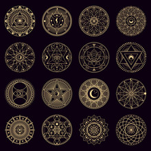 Mystery Spell Circle. Golden Mystical Alchemy Witchcraft Circular Emblems, Occult Geometry Signs, Circle Magical Vector Illustration Icons Set. Spiritual Mystical Ornament, Astrology And Witchcraft