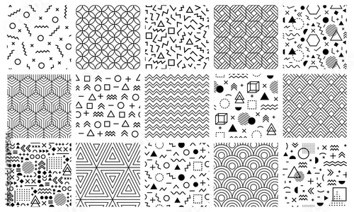 Memphis geometric patterns. Seamless 80s abstract maze patterns, 90s style memphis pattern, geometric doodle vector background illustration set. Geometric memphis seamless trendy pattern