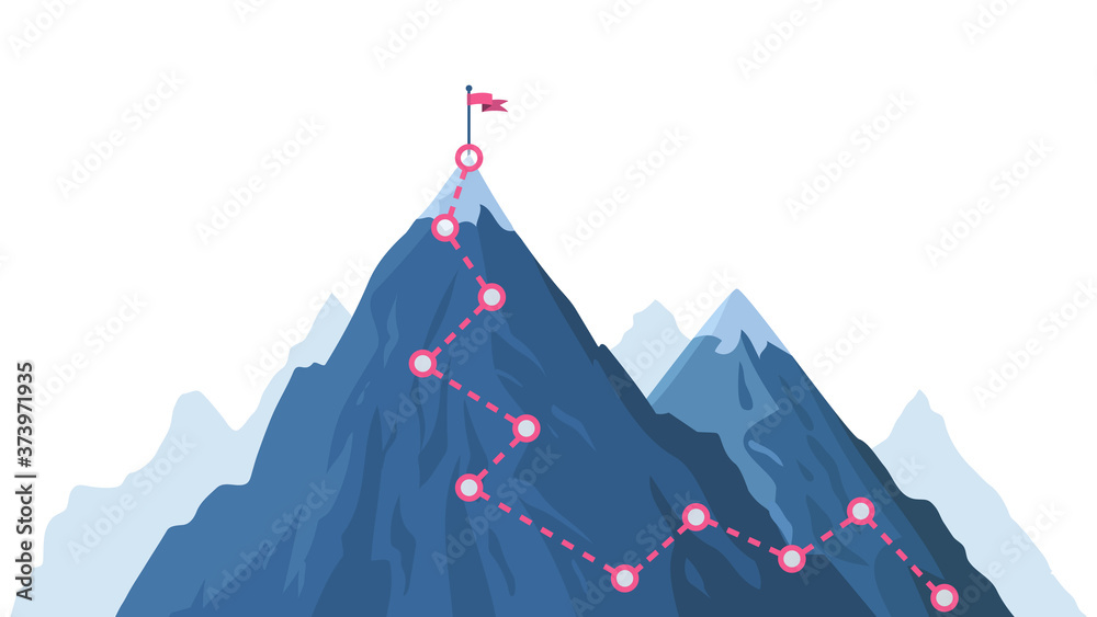 Fototapeta Mountain progression path. Climbing progress route, mountain peak overcoming, mountain climbing path with red flag on top vector illustration. Way path infographic, progress way to peak