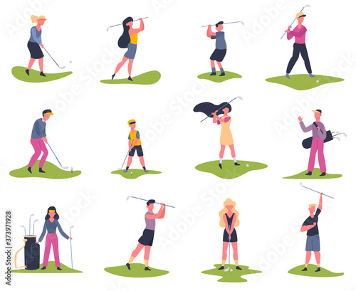 Golf players. People playing golf, golfers striking ball, outside summer activity, golf characters vector illustration set. Game golf and sport man player
