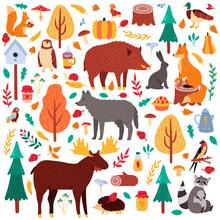 Cartoon Autumn Animals. Cute W...