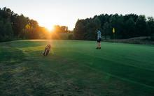 Golfer Man Character Playing G...
