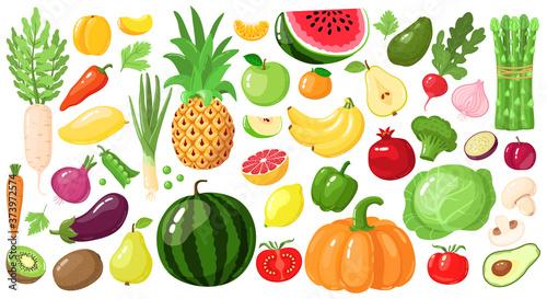 Foto Cartoon fruits and vegetables