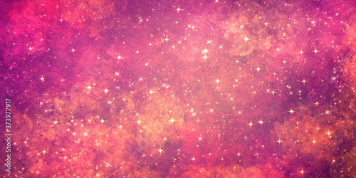 Stampa su Tela cosmic bright grunge red and purple shades background, with many stars and glitter
