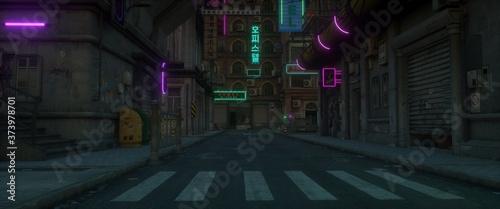 Leinwand Poster Gloomy neon night in a cyberpunk city