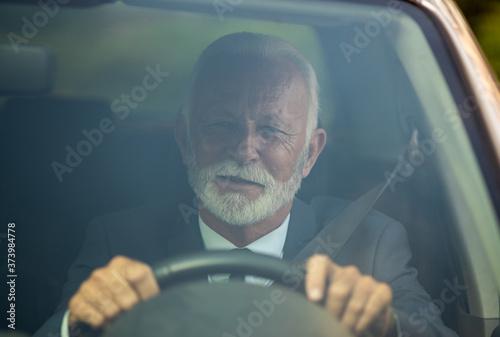 Obraz na plátně Senior man driving car
