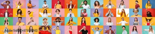 Photo set collage of faces of multiethnic diverse emotional people, men and women group different ages wearing casual clothes isolated on colorful background studio portraits. Human facial expressions