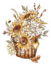 Vintage Fall Sunflowers, Wicker Basket Greeting Card.