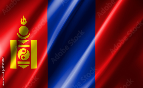 Valokuva 3D rendering of the waving flag Mongolia