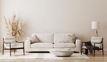 Beige Room Interior, Living Room Interior Mockup, Empty Beige Wall, 3d Rendering