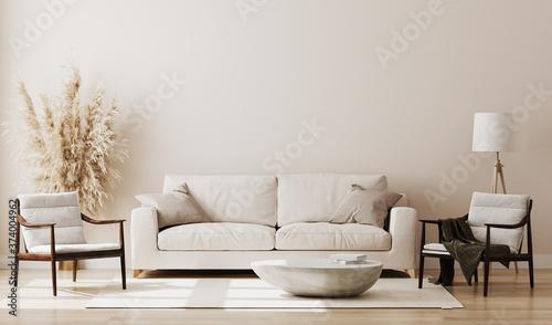 Foto Beige room interior, living room interior mockup, empty beige wall, 3d rendering