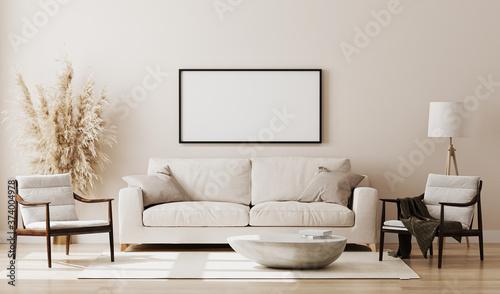 Fényképezés Blank picture frame mock up in beige room interior , 3d rendering