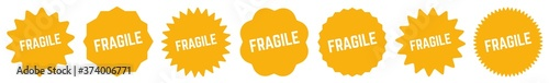 Fragile Tag Black | Icon | Sticker | Deal Label | Variations Fototapet