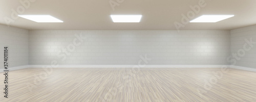Obraz Empty white wall and wooden floor copy space background 3d render illustration - fototapety do salonu