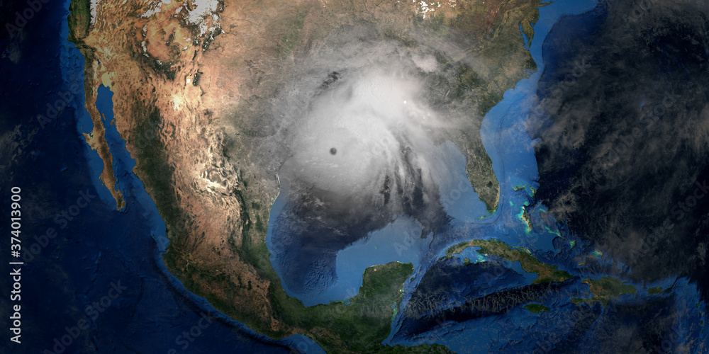 Fototapeta Hurricane Laura making Landfall in USA. Shot from Space. Elements of this 3D rendering are furnished by NASA.