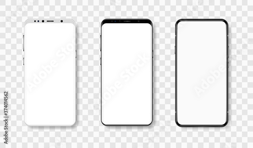 Fotografia Frontal view of smartphones in realistic style with blank display