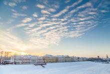 Vologda River Embankment In Winter At Sunset