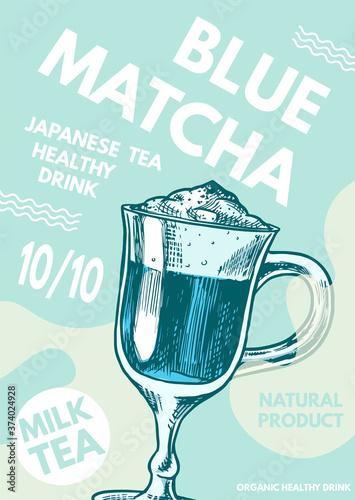 Leinwand Poster Matcha blue tea poster