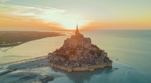 Aerial View Of Mont Saint Michel, France During Sunset