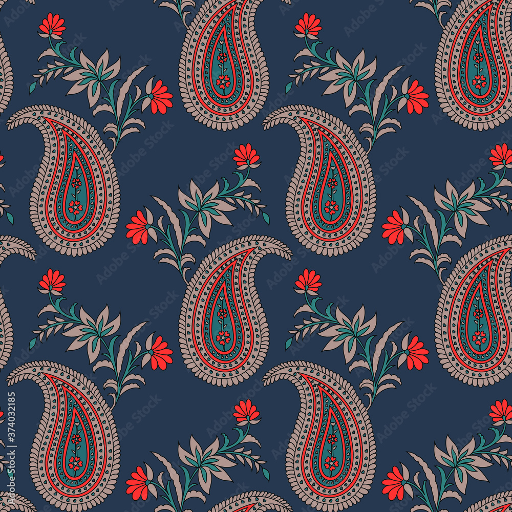 Fototapeta traditional indian paisley pattern on  background