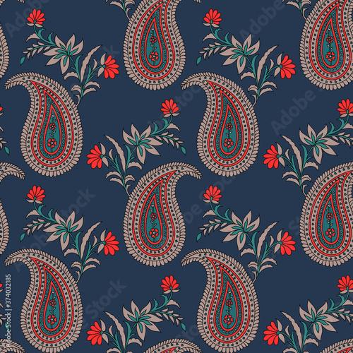 Obraz traditional indian paisley pattern on  background - fototapety do salonu