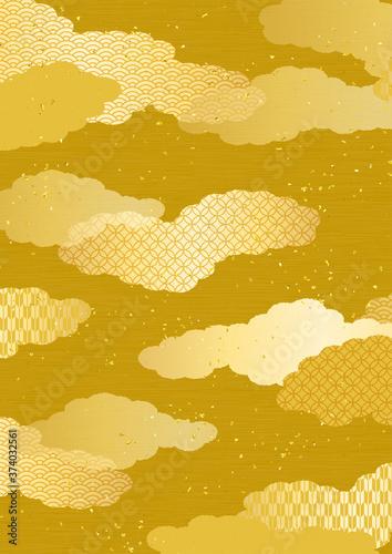 和風の雲柄背景素材 Canvas