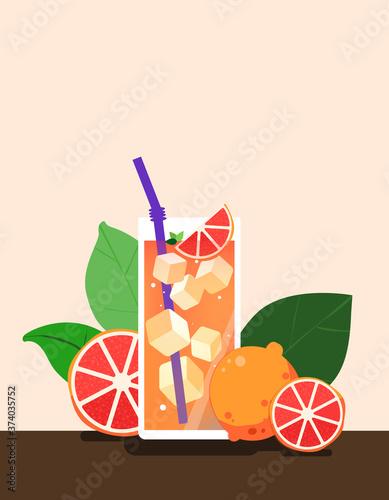 Grapefruit ade, ade, ice, Grapefruit drink Canvas Print