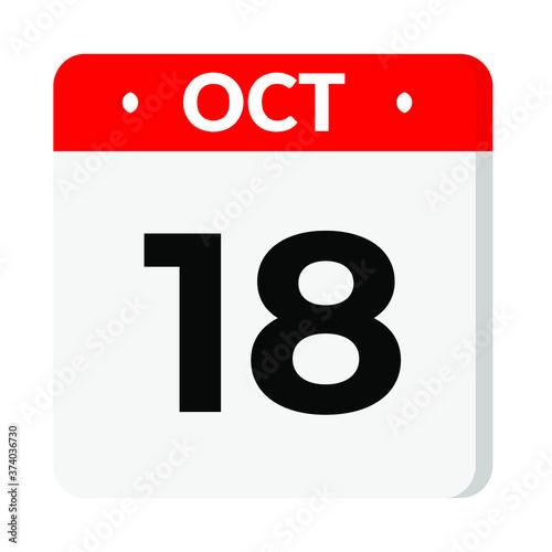 Photo 18 October calendar icon