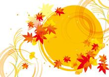秋の月の和風背景素材