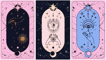 Moon And Sun Tarot Cards, Hands Set In Simple Flat Esoteric Boho Style. Esoteric Collection Of Logos With Various Symbols Such As Space Star Planet, Gold And Pink And Pink Cards