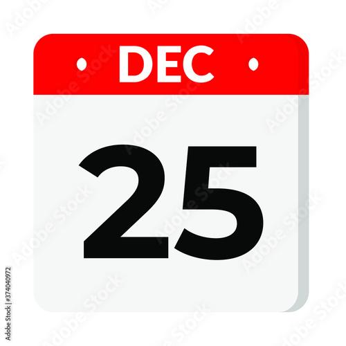 25 December calendar icon Canvas Print