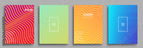 Obraz Minimal covers design. Geometric halftone gradients. Vector illustration of bright color abstract pattern background with line gradient texture for minimal dynamic cover design. - fototapety do salonu