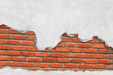 Red Brick Wall With White Concrete Texture Background