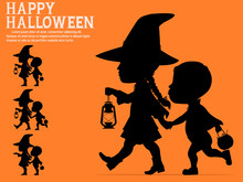 Silhouette Of Halloween Kids O...