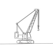 One Continuous Line Drawing Of Crane Truck For Building Construction, Business Commercial Vehicles. Heavy Construction Trucks Equipment Concept. Dynamic Single Line Draw Design Vector Illustration