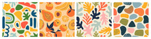 Abstract Seamless Pattern Bundle With Natural Shapes, Random Freehand Matisse Wallpaper Collection. Trendy Fashion Background Includes Modern Minimalist Art, Tropical Fruit And Exotic Summer Doodles.
