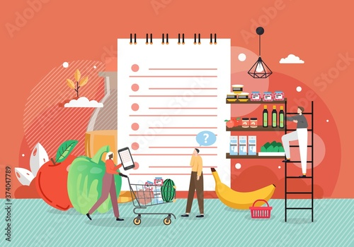 Woman making purchases of food products using grocery list mobile app, flat vector illustration