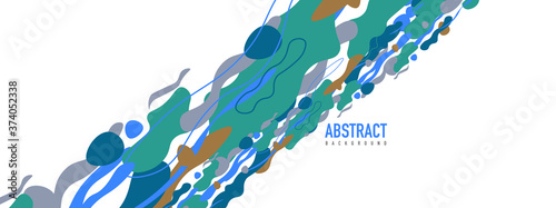 Foto Trendy liquid style shapes abstract design, dynamic vector background for placar