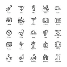 Holidays And Camping Line Icons