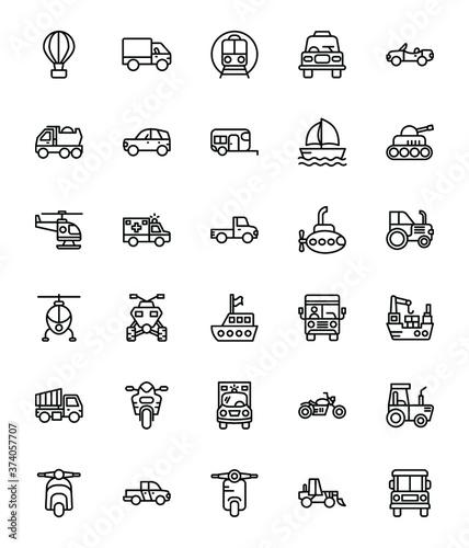 Obraz na plátně Vehicle Line Vector Icons