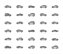 Car Line Vector Icons
