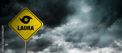 Fotografia Hurricane Laura banner with storm clouds background.