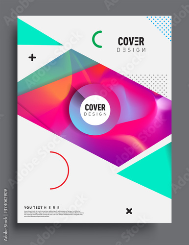 Fototapeta Covers design with liquid color and liquid colorful shapes
