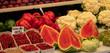 canvas print picture - Panorama Obst und Gemüse auf dem Markt