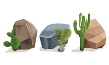 Desert Stones Or Boulders With Cactus Vector Set