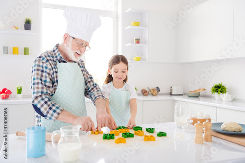 Obraz na plátně Portrait of nice cheerful focused grey-haired granddad grandchild preparing cook