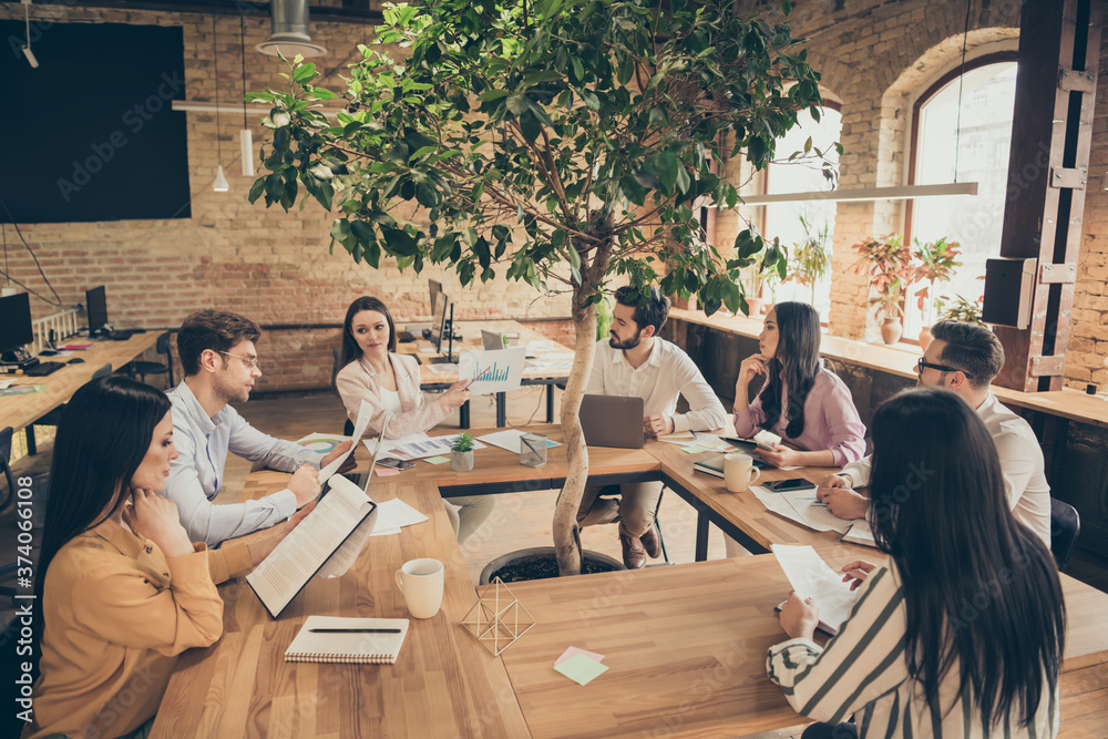 Fototapeta Photo of business people partners sit around table spacious office seven members successful new anti crisis crash plan professionals discussing observe graphics charts 2020 ending indoors