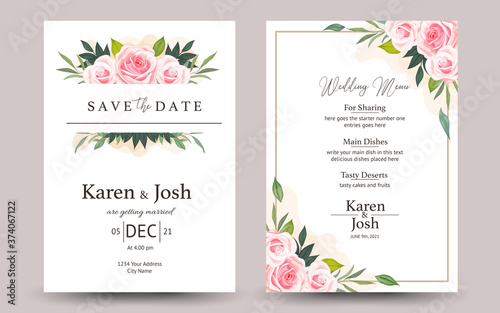 set of wedding invitation card Poster Mural XXL