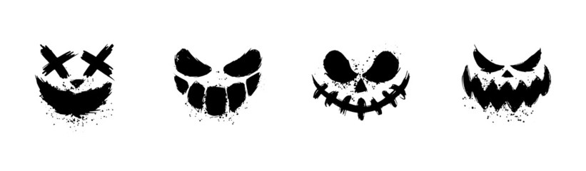 Scary faces of Halloween pumpkin or ghost . Brush stroke smile. Vector collection.